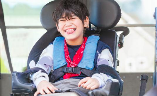 Boy in wheelchair in van